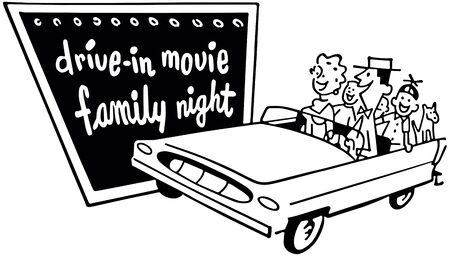 Drive-In Movie Family Night - Retro Clip Art Illustration
