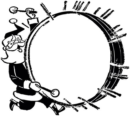 Santa With Bass Drum - Retro Clip Art Ad Frame