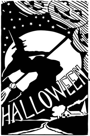 Halloween Poster - Retro Clipart Illustration