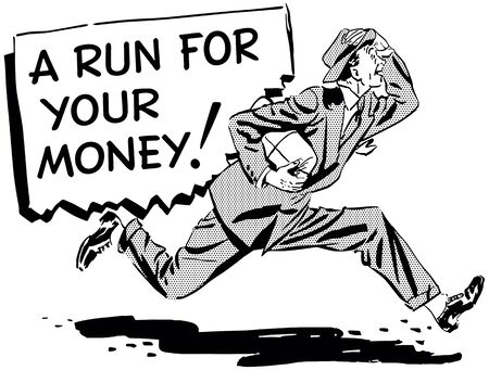 A Run For Your Money - Retro Clipart Illustration 스톡 콘텐츠