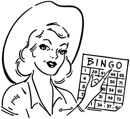 Bingo Gal - Retro Clipart Illustration