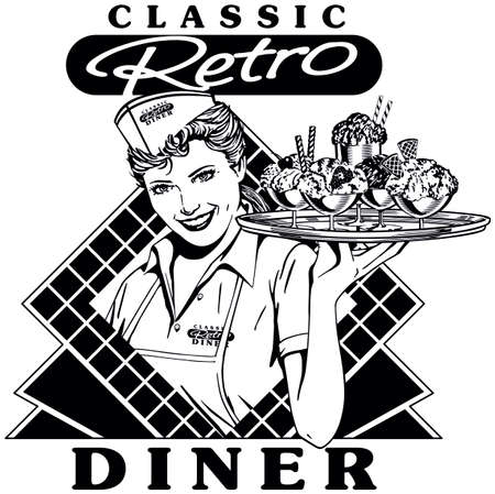 Retro Diner Waitress 2 - Classic Soda Shop Server with Tray of Ice Cream and Floats. Stock Illustratie