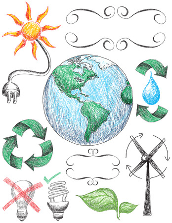 sun energy: Recycling and conservation doodles