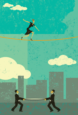 Walking a Tightrope, A retro businesswoman walking a tightrope with two men and a safety net underneath in case she falls. The people & rope and background are on separate labeled layers.