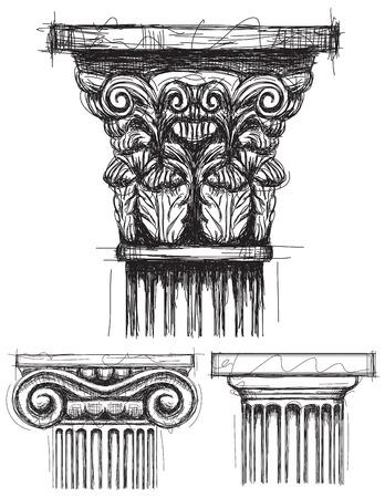 기둥 자본, 코린트 식, 이오니아 및 도리스 자본 스케치.