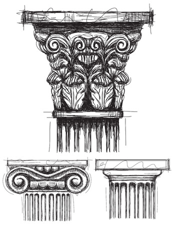 Column capitals, Corinthian, Ionic, and Doric capital sketches.