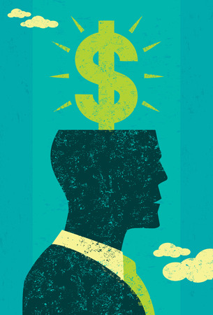 profitable: Profitable Idea, A businessman imagines a profitable idea. The man and background are on separate labeled layers. Illustration