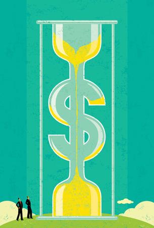 """gestion del tiempo: El tiempo es dinero, gente de negocios, mirando a un enorme reloj de arena en forma de d�lar, se da cuenta de que """"el tiempo es oro"""". El pueblo y el reloj de arena est�n en una capa etiquetada separada del fondo. Vectores"""
