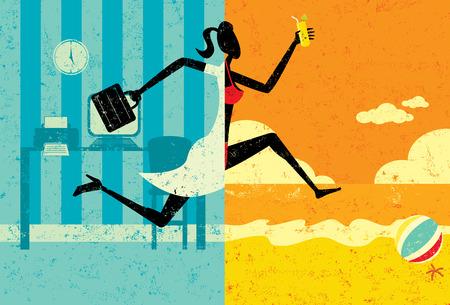 休暇、ビーチでの休暇にビキニを着てに分割画像のトランジションを作るブリーフケースと実業家への移行。女性・営業所・ ビーチは、別のレイヤ