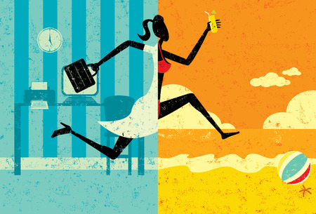 Transition to Vacation, A businesswoman with a briefcase making a split image transition to wearing a bikini on a beach vacation. The woman, office, and beach are on separate labeled layers.