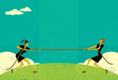 wojenne: Tug of War, przedsiębiorców konkurujących o udział w rynku w ciągu Tug-of-war battle.The kobiet i liny są na osobnej warstwie z etykietą tle. Ilustracja