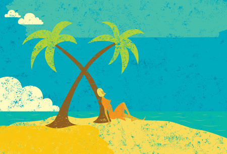 seated: Woman on an island, A woman seated next to a palm tree on a desert island.