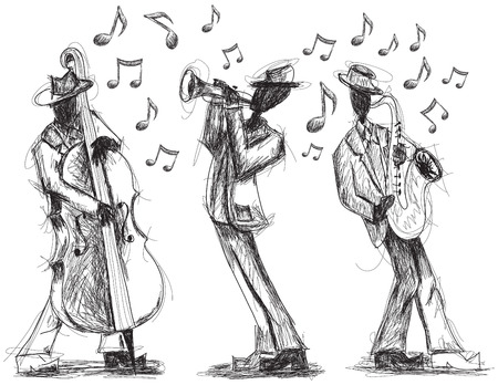 trumpet player: Jazz band doodles, Hand drawn jazz band with a trumpet player, bassist,and saxophonist