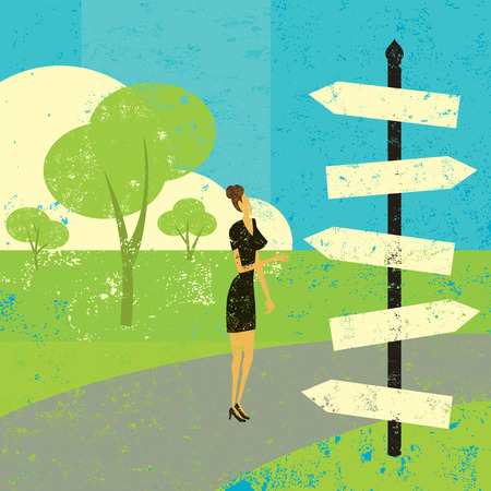 Choosing a destination, A woman looking at a road sign and wondering which way to go. Vector