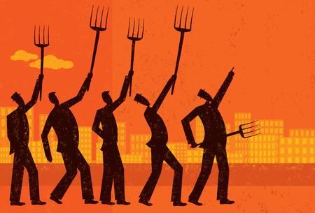 화가 난 사업가, 화난 사업가들은 항의하고 그들의 갈퀴를 올린다. 시위자와 배경은 별도의 레이블이 붙은 레이어에 있습니다. 일러스트