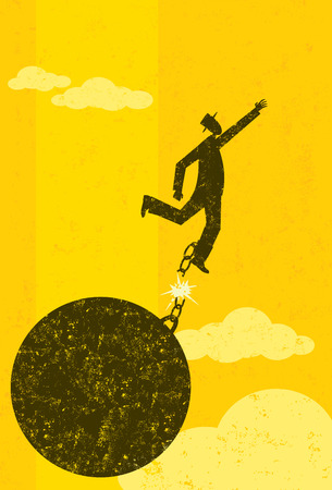 Breaking free from the ball and chain, A businessman escaping from his ball and chain. The man with ball & chain and the background are on separately labeled layers.