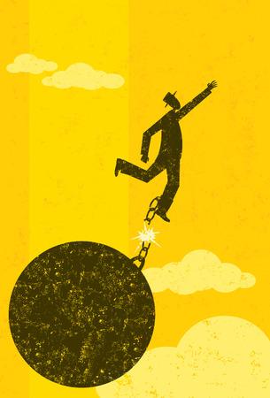 Vrijkomen van de bal en, Een zakenman ontsnapt uit zijn bal en ketting. De man met bal en ketting en de achtergrond zijn op afzonderlijk label lagen. Stock Illustratie