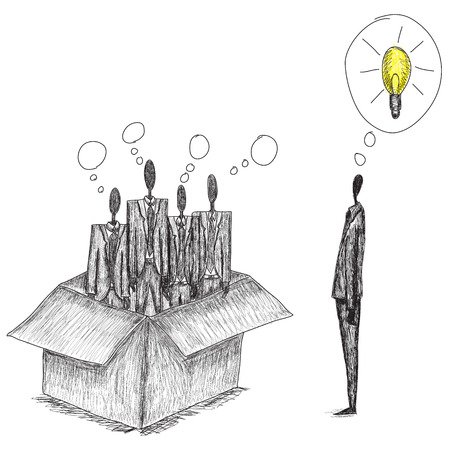 coming up with: Thinking outside the box, Doodle style, hand drawn conceptual business image of people thinking in the box and one independent thinker coming up with an idea outside of the box.