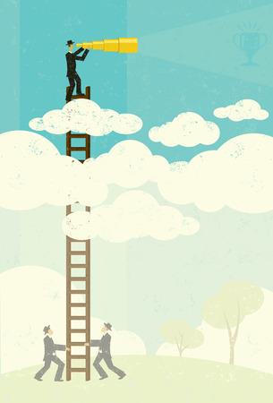 Mening van hierboven, Een zakenman vaag zien van zijn doel in de toekomst met een telescopische verrekijker boven de wolken. Zakenlieden, onder in de mist, te helpen door met zijn ladder. De mensen en de ladder en de achtergrond zijn op afzonderlijke lagen label.