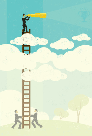 above clouds: View from Above, A businessman vaguely seeing his goal in the future with a telescopic spyglass above the clouds. Businessmen, below in the fog, help by holding his ladder. The people and ladder and background are on separate labeled layers.