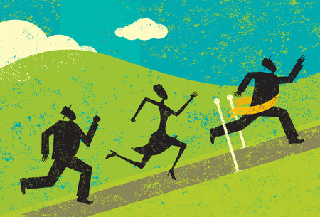 agility: Winning the race, A man winning a race and crossing the finish line ahead of other people. Illustration