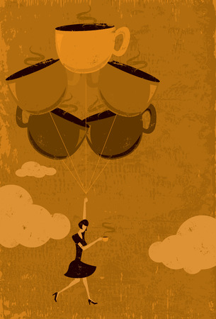 woman floating: Caffeine High, A woman floating in the air from a caffeine high. The woman and coffee cup balloons are on a separate labeled layer from the background. Illustration