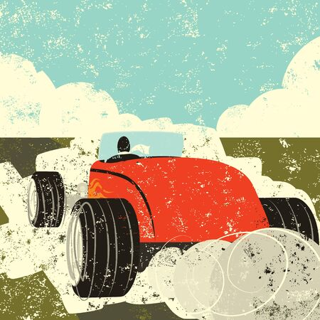 fast driving: Driving a hot rod, A person driving away fast in a old hot rod.