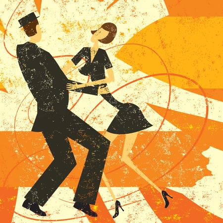 Retro paar dansen, Een retro stijl paar dansen op een abstracte achtergrond. De dansers en de achtergrond zijn op afzonderlijke lagen label.