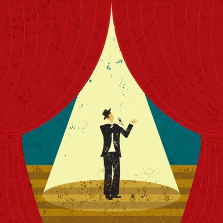Zanger op het podium, mannelijke zanger onder een schijnwerper op het podium. Stock Illustratie