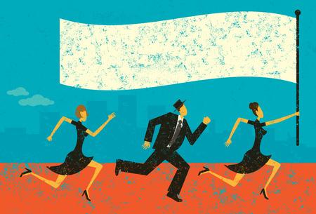 비즈니스 리더, 깃발을 들고 그들의 지도자를 다음 비즈니스 사람입니다. 사람들과 배경은 별도로 표시 레이어에 있습니다. 일러스트
