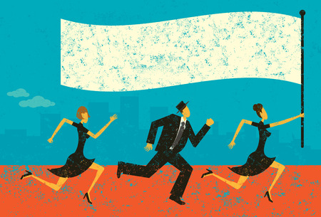 following: Business Leader, Business people following their leader carrying a flag. The people and background are on separately labeled layers. Illustration