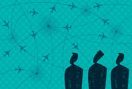 aerospace: Business Travel, Businessmen looking at airplane icons in flight paths from city to city.