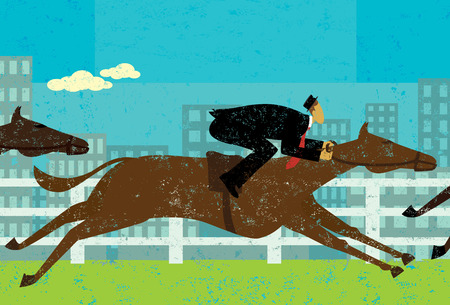 brave of sport: Businessman horse racing, Businessman in a horse race to achieve his goal. The businessman and horses are on a separate labeled layer from the background.
