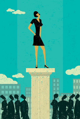 lady boss: Business Leader, Business people looking up at their leader. The leader & column and background are on separately labeled layers.