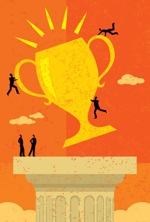 team success: Business Team Success, A business team achieving their goal and placing their trophy atop a pedestal. The people & trophy and background are on separate labeled layers.