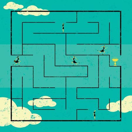 実業家、迷路の成功へのパスをナビゲートする成功へのパスを見つけること。女性は背景から別のラベルのレイヤーです。