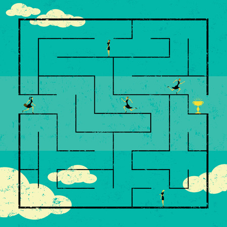 navigating: Finding the Path to Success, Businesswomen navigating a path to success through a maze. The women are on a separate labeled layer from the background. Illustration