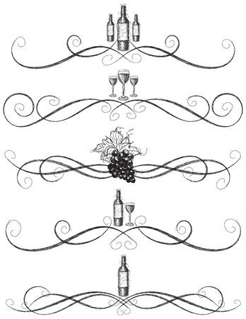 hojas parra: Volutas incompleto vino,, botella de vino incompletos dibujados a mano, copas de vino y uvas con volutas decorativas vid