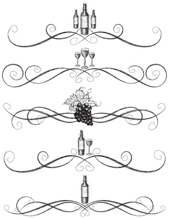 Sketchy wine scrollwork, Sketchy, hand drawn wine bottle, wine glasses, and grapes with decorative vine scrolls Vectores