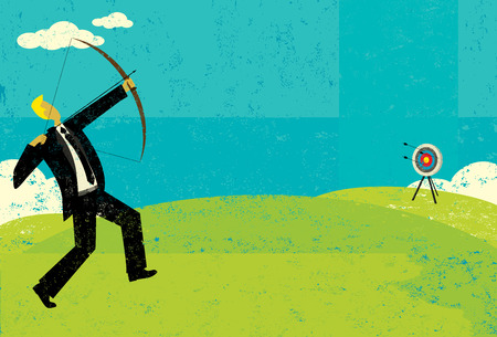 Trying to hit the bulls eye, A businessman trying to shoot the arrow into the bull Ilustrace