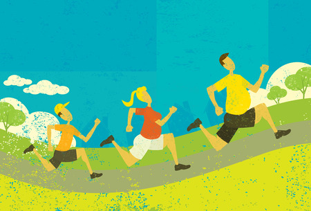 Family jogging, An overweight family jogging and getting in shape over an abstract park background. The people and background are on separate labeled layers.