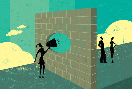 Shouting through a brick wall, A businesswoman overcoming a barrier to communicate with potential clients.  The people & brick wall and the background are on separate labeled layers.