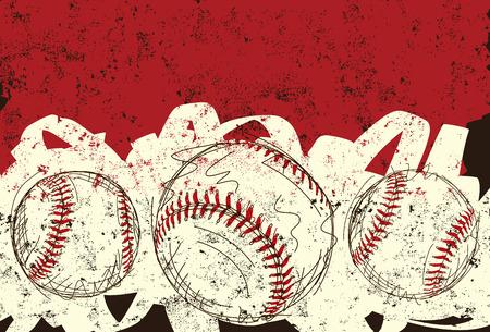 Drie honkballen, schetsmatig, met de hand getekende honkballen over een abstracte achtergrond.