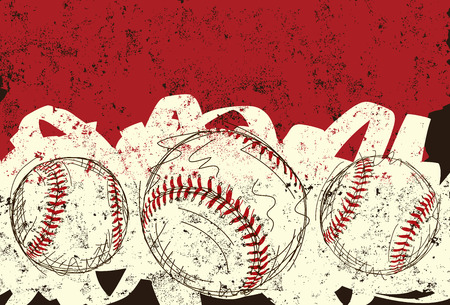 Three baseballs, Sketchy, hand drawn baseballs over an abstract background. Vettoriali