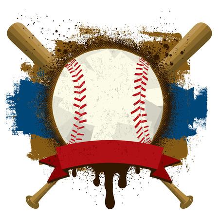 Honkbal Insignia, een honkbal met een tekst banner over honkbalknuppels en een grunge achtergrond.