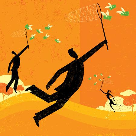 flying money: Persiguiendo d�lares, la gente de negocios que persigue el dinero del vuelo con redes de mariposa. El pueblo y el fondo est�n en capas separadas etiquetadas.