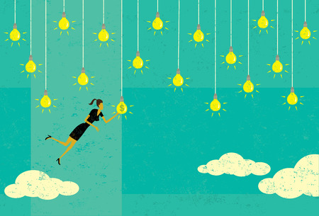 profitable: Choosing a Profitable Idea, There are lots of great ideas out there and choosing the most profitable one is a key to success. The woman, light bulbs, and clouds are on a separate labeled layer from the background.