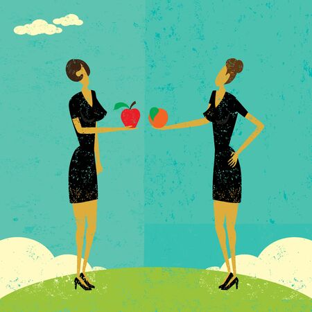 Comparing Apples and Oranges, Two businesswomen comparing an apple and an orange. The women are on a separate labeled layer from the background. Ilustracja