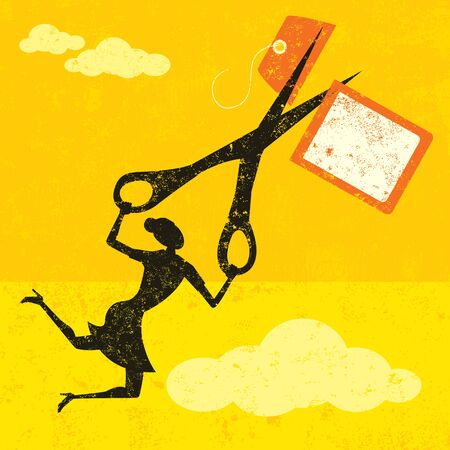 cut price: Cutting High Prices, A businesswoman cutting a high price tag with large scissors over an abstract sky with clouds. The woman, scissors and price tag are on a separate layer from the background. Illustration