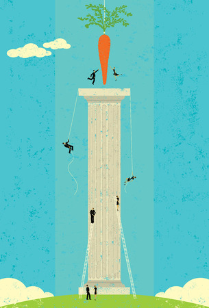 dangling: Dangling a Carrot, Business people climbing and reaching for the dangling carrot. The people, carrot, and column are on a separate labeled layer from the background.